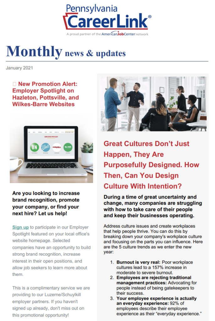 Employer Monthly Newsletter
